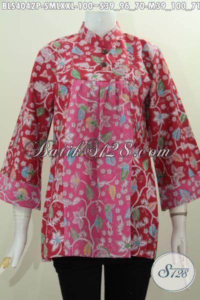 Baju Blus Merah Motif Terndy Desain Kerah Shanghai Mekar, Produk Baju Batik Printing Solo Kwalitas Mewah Harga Murah Meriah [BLS4042P-S]