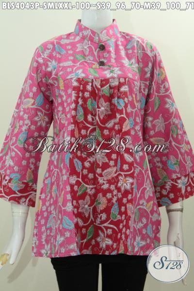 Busana Trendy Bahan Batik Printing Desain Kerah Shanghai Mekar Harga Grosir, Baju Batik Kwalitas Bagus Bikin Penampilan Lebih Percaya Diri, Size S , M , L , XXL