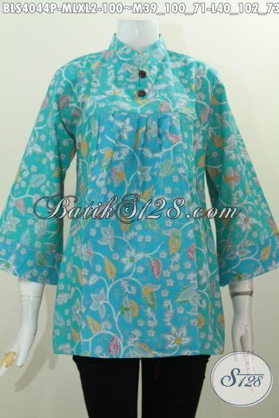 Blus Batik Printing Warna Biru Model Terkini Yang Bikin Wanita Terlihat Berkelas, Busana Batik Halus Motif Keren Hanya 100 Ribu, Size M – L – XL