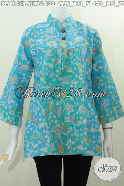 Baju Blus Dua Warna Berbahan Adem Nyaman Di Pakai, Pakaian Batik Perempuan Masa Kini Proses Printing Desain Kerah Shanghai Mekar, Size M – L – XL