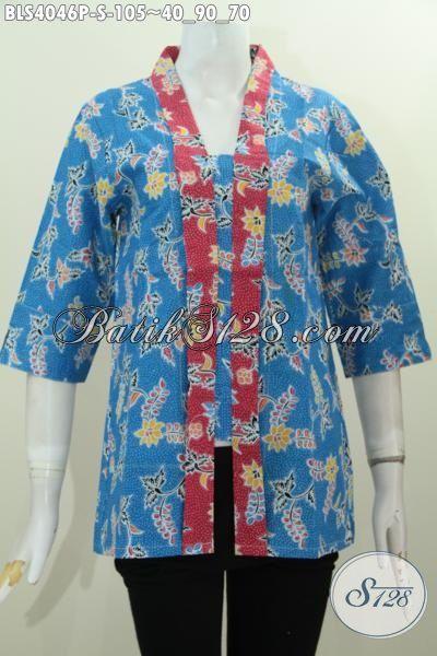 Jual Batik Blus Kartini Warna Biru Dengan Kombinasi Desain Elegan Berkelas Berpadu Motif Trendy Proses Printing Istimewa, Cocok Buat Acara Formal, Size S
