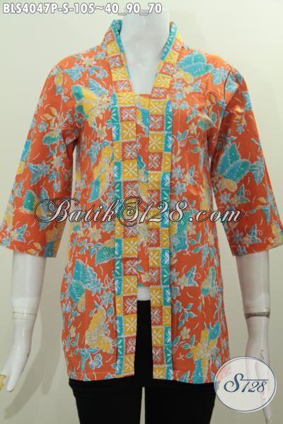 Baju Batik Orange Desain Kutu Baru Pakaian Blus Batik Masa Kini