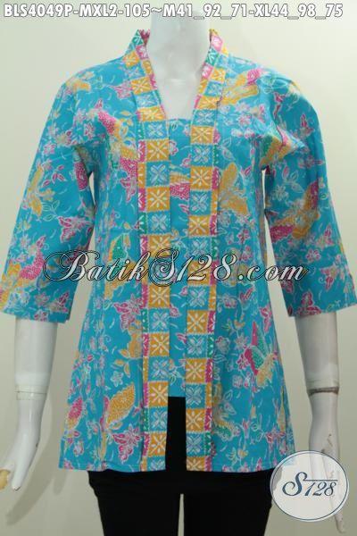 Jual Produk Pakaian Batik Blus Kerah Kartini Warna Biru Motif Bunga Dan Kupu, Baju Batik Printing Terbaru Yang Modis Buat Kerja Dan Ke Pesta, Size M – XL