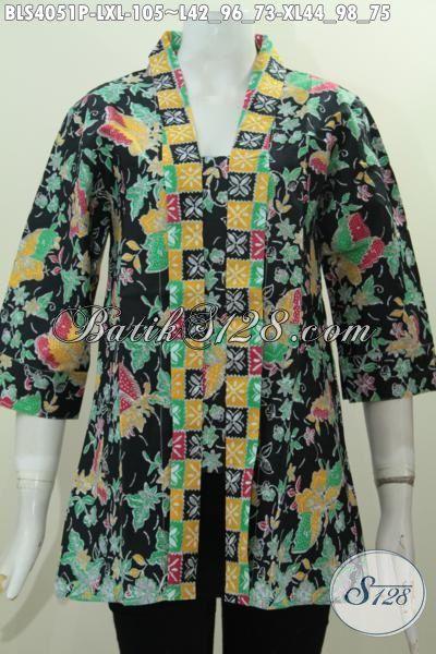 Baju Blus batik Modern Bahan Halus Motif Trendy Model Kerah Kartini, Pakaian Batik Berkelas Untuk Kerja Dan Modis Buat Jalan-Jalan Tampil Cantik Lebih Maksimal, Size L – XL