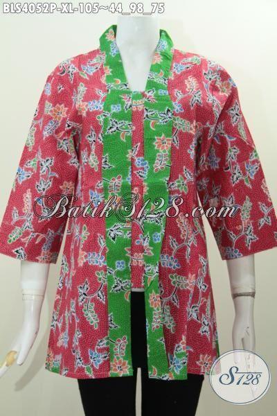 Baju Blus Warna Merah Motif Bunga, Busana Batik Kerah Kartini Aksen Hijau Berbahan Halus Dan Adem Nyaman Di Pakai Di Cuaca Yang Panas Sekalipun [BLS4052P-XL]