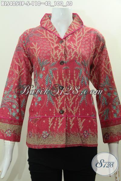 Jual Baju Blus Elegan Model Terkini Dengan Kerah Shanghai Langsung Plisir Lebih Mewah Dan Berkelas, Proses Printing, Size S