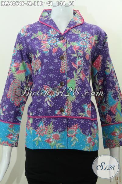 Agen Busana Batik Wanita Dengan Pilihan Koleksi Terbaru , Busana Batik Kerah Shanghai Warna Ungu Motif Bunga Proses Printing Trend Saat Ini, Size M