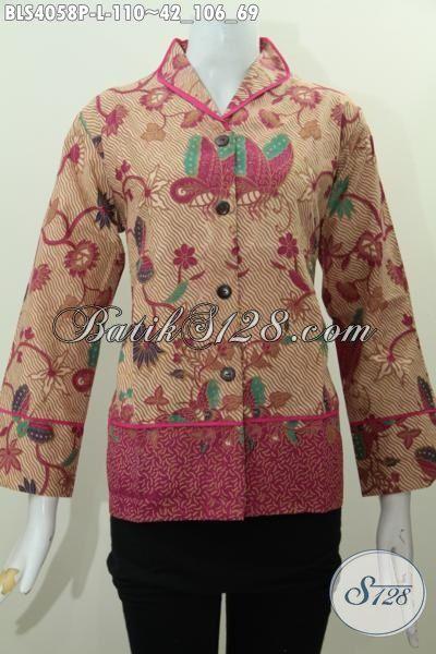 Baju Batik Cewek Dewasa Model Kerah Langsung Plisir, Pakaian Batik Modern Desain Formal Bahan Halus Proses Printing Ukuran L Pas Untuk Kerja