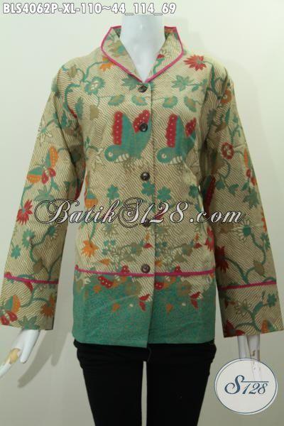 Baju Blus Batik Paling Di Cari Saat Ini, Pakaian Batik Bahan Adem Motif Keren Proses Printing Desain Kerah Langsung Plisir Yang Fashionable [BLS4062P-XL]