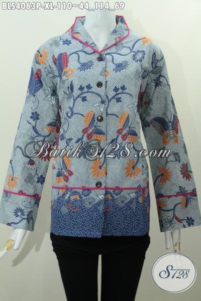 Jual Produk Batik Blus Perempuan Size XL, Baju Kerja Dan Rapat Desain Berkelas Motif Trendy Proses Printing, Tampil Berkelas Dengan 100 Ribuan