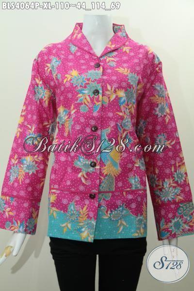 Batik Blus Modis Kwalitas Bagus Motif Bunga, Pakaian Batik Wanita Dewasa Ukuran XL Warna Pink Proses Printing Tampil Lebih Modis Dan Gaya