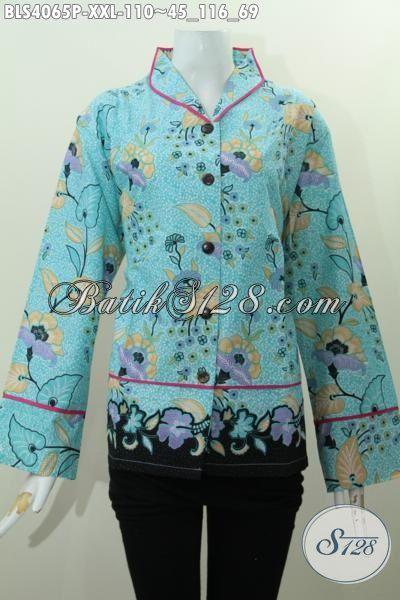 Toko Online Batik Paling Lengkap, Sedia Blus Batik Untuk Wanita Gemuk Dengan Desain Modern Kerah Langsung Plisir Motif Bunga Proses Printing, Size XXL