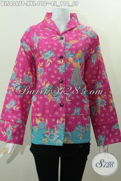 Baju Blus Warna Pink Size XXL, Busana Batik Perempuan Berbadan Gemuk Motif Terbaru Proses Printing Desain Mewah Harga Murah