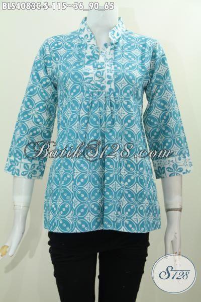 Jual Busana Batik Perempuan Harga Grosir, Baju Blus Batik Kerah Shanghai Trend Mode Pakaian Wanita Muda Masa Kini, Size S