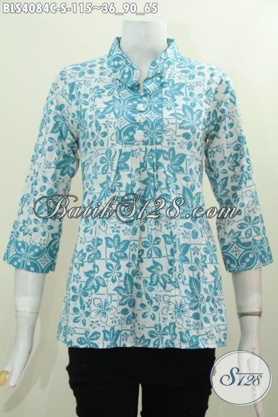 Pakaian Blus Model Kerah Shanghai Bahan Batik Cap Buatan Solo, Baju Batik Wanita Muda Ukuran Kecil Buat Penampilan Makin Stylish [BLS4084C-S]