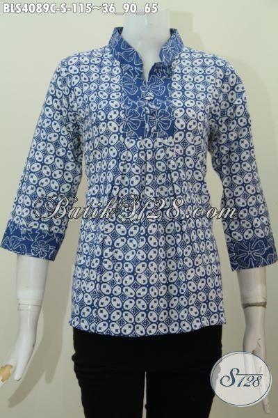 Batik Blus Kerah Shanghai Wanita Muda Warna Bagus Motif Keren, Baju Batik Cap Buatan Solo Keren Trendy Harga Terjangkau, Size S