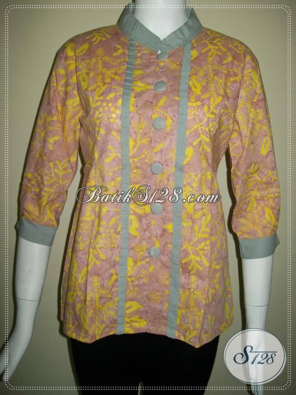 Blus Batik Cap Asli Solo,Baju Batik Karyawan Bank [BLS408CS-M]