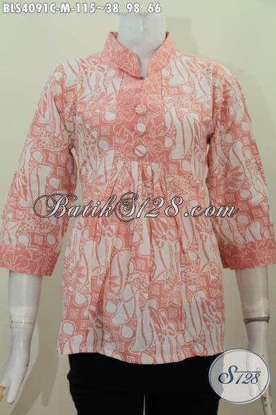 Baju Blus Batik Modern Klasik Warna Pastel Model Kerah Shanghai Yang Banyak Di Cari Saat Ini, Baju Batik Proses Cap Trend Halus Harga 100 Ribuan, Size M