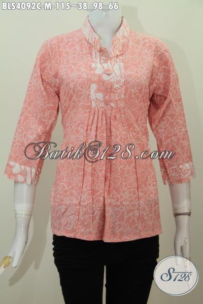 Baju Blus Istimewa Desain Modis Bahan Batik Cap Yang Halus Dengan Motif Trendy, Pakaian Batik Kerah Shanghai Trend Mode Baju Wanita Masa Kini, Size M