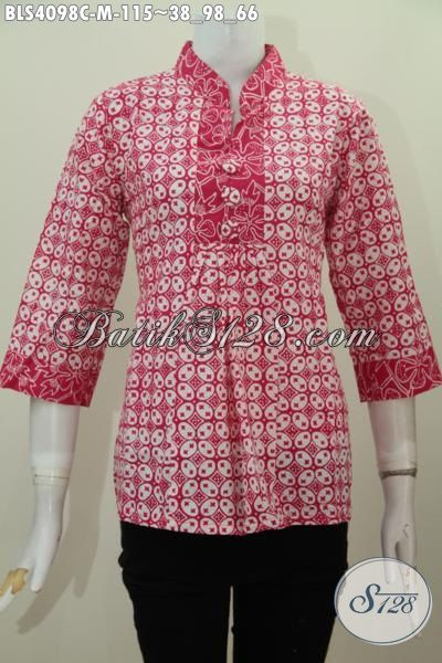 Baju Blus Merah Bahan Halus Motif Trendy Proses Cap, Pakaian Batik Jawa Elegan Buat Kerja Serta Modis Untuk Jalan-Jalan, Size M