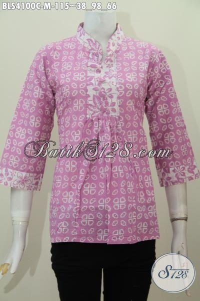 Pakaian Blus Batik Trendy Yang Fashionable Untuk Kerja Dan Santai, Baju Batik Kerah Shanghai Proses Cap Tampil Gaya Dan Mempesona , Size M