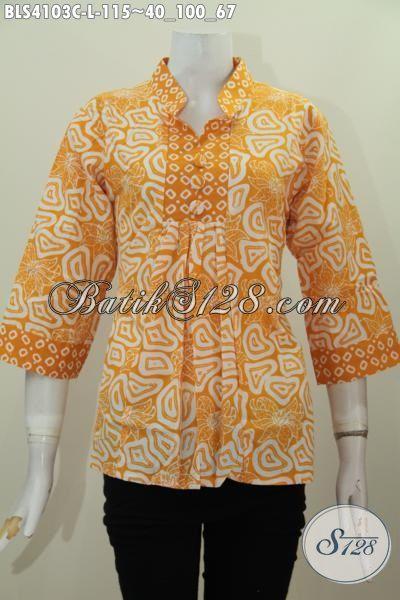 Baju Batik Wanita Paling Laris saat Ini, Busana Batik Blus Kerah Shangahai Motif Terbaru Proses Cap Kwalitas Bagus Harga 100 Ribuan [BLS4103C-L]