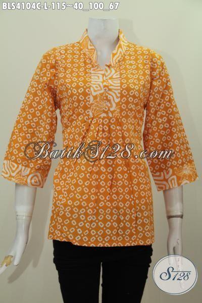 Blus Batik Kuning Buatan Solo Kwalitas Bagus Harga Terjangkau, Baju Kerja Batik Cap Kerah Shanghai Trendy Bahan Adem Nyaman Di Pakai, Size L