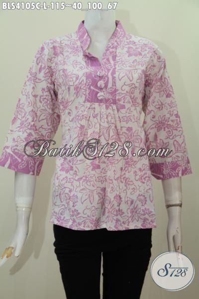 Jual Online Baju Batik Blus Perempuan Kerja Kantoran, Batik Blus Size L Warna Ungu Desain Kerah Shanghai Model Paling Laris Saat Ini