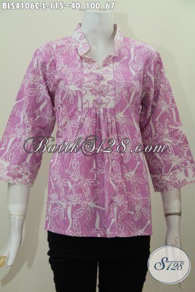Jual Blus Batik Ungu Model Kerah Shanghai Motif Terkini Proses Cap, Baju Batik Jawa Tengah Model Kerah Shanghai Bahan Adem, Size L
