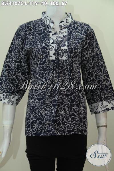 Baju Batik Blus Kerah Shanghai Dua Warna Motif Unik Dan Menarik Proses Cap, Baju Batik Trendy Bahan Adem Nyaman Di Pakai Kerja [BLS4107C-L]