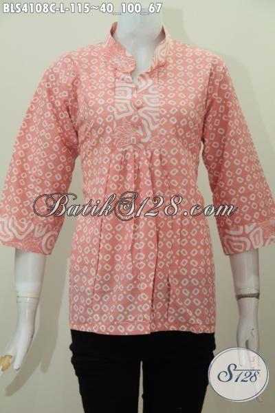 Busana Batik Blus Motif Terkini Proses Cap Trendy Buat Santai Dan Jalan-Jalan, Pakaian Batik Perempuan Model Kerah Shanghai Kwalitas Bagus Harga Murah