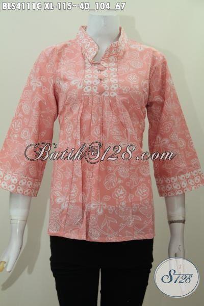 Jual Online Produk Blus Batik Jawa Tengah Model Kerah Shanghai Size XL Buat Wanita Dewasa Tampil Lebih Mempesona
