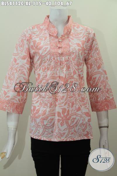 Produk Blus Batik Kerah Shanghai Yang Bikin Wanita Dewasa Terlihat Elegan Dan Modis, Pakaian Batik Cap Motif Trendy Harga Hanya 100 Ribuan [BLS4112C-XL]