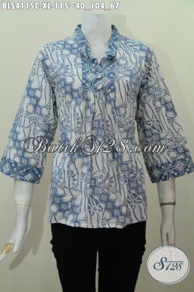 Jual Pakaian Batik Modern Model Kerah Shanghai Kwaliats Bagus Harga Terjangkau, Baju Batik Proses Cap Asli Produk Dari Solo Jawa Tengah, Size XL