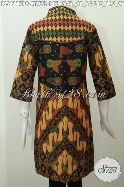 Blus Batik Elegan Motif Sinaran, Baju Batik Printing Desain Formal Kwalitas Bagus Harga Terjangkau, Cocok Untuk Rapat Dan Kondangan, Size M – L – XXL