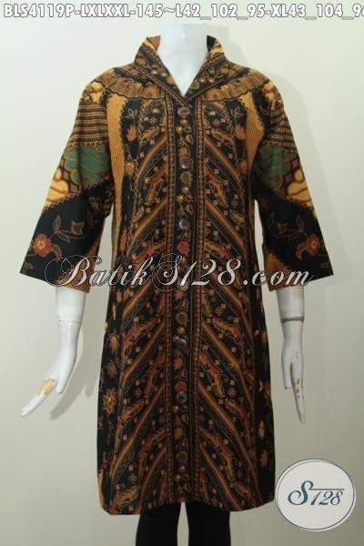 Seragam Batik Kerja Wanita Karir Motif Klasik, Blus Batik Kerah Langsung Desain Istimewa Tampil Lebih Mempesona, Size L – XL – XXL