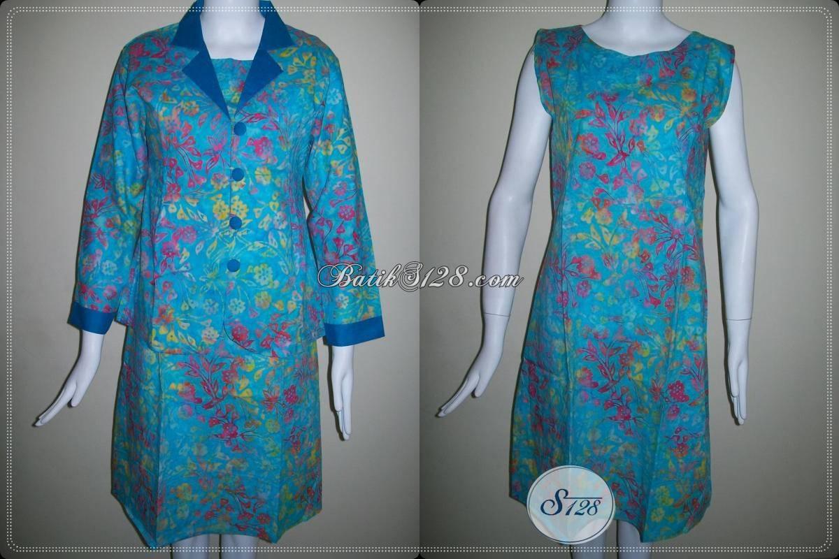 Toko Online Dress Dan Blazer Batik Warna Biru [BLS412CS-M]