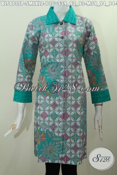 Jual Produk Pakaian Batik Modern Warna Mewah Dengan Bahan Kombinasi katun Dan Embos Desain Formal Bikin Wanita Terlihat Gaya Serta Mempesona, Size S – M – L – XL