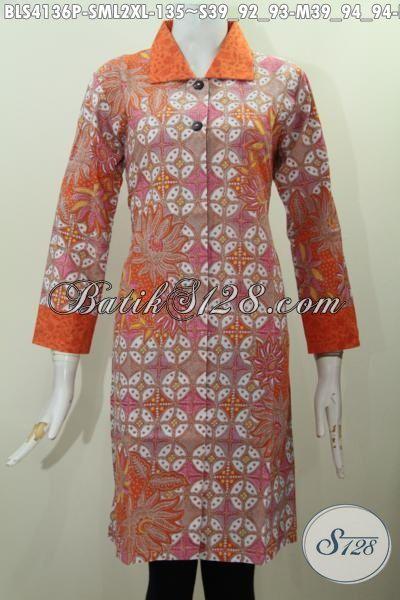 Baju Batik Blus Warna Orange Desain Mewah Bahan Halus Dengan Kerah