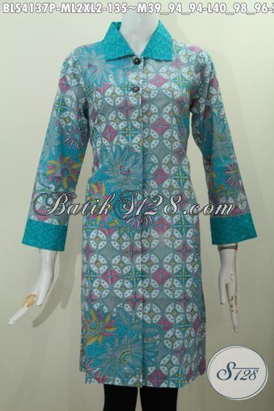 Busana Batik Motif Paling Baru Saat Ini, Pakaian Batik Wanita Modern Desain Blus Kerah Langsung Embos Buat Wanita Muda Dan Dewasa Tampil Beda Bergaya, Size M – L – XL