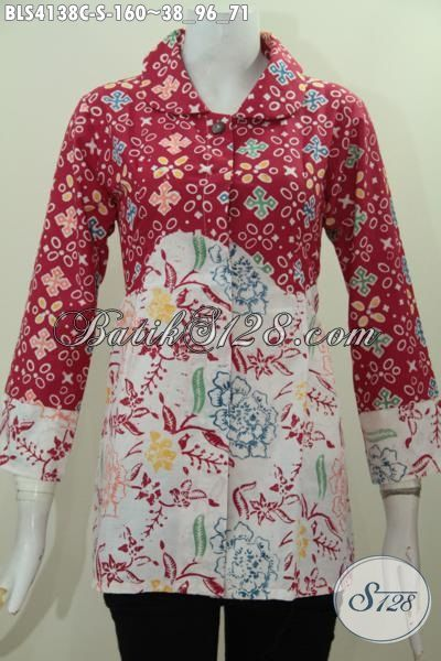 Pakaian Batik Cap Dual Warna Bahan Halus Motif Kombinasi, Baju Batik Kerah Bulat Elegan Trend Mode Terkini, Size S