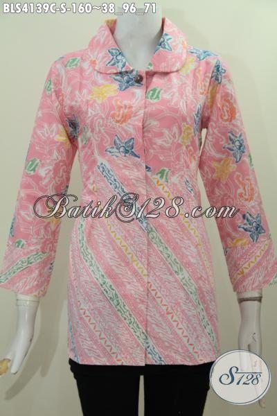 Jual Batik Blus Modern Warna Pastel Motif Bunga Kwalitas Bagus, Baju Batik Elegan Berkelas Proses Cap Sempurnakan Penampilan Wanita Karir [BLS4139C-S]