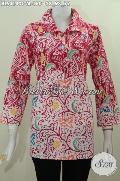 Baju Blus Istimewa Buatan Solo Kombinasi Dua Motif, Pakaian Batik Wanita Warna Merah Putih Berbahan Halus Dan Adem Proses Cap [BLS4143C-M]