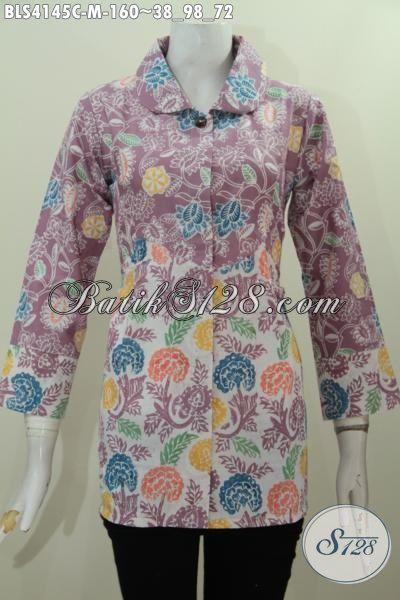 Pakaian Batik Istimewa Buatan Solo Untuk Wanita Karir, Baju Blus Batik Warna Kalem Desain Mewah Bikin Penampilan Makin Cetar Membahana [BLS4145C-M]