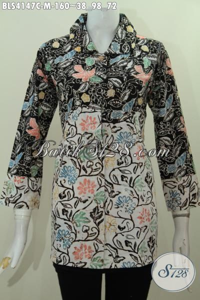 Pakaian Batik Dua Motif Warna Elegan, Busana Batik Jawa Proses Cap Model Kerah Bulat Pas Buat Kerja Dan Jalan-Jalan, Size M