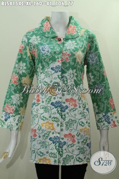 Busana Blus Modern Warna Hijau Kombinasi Putih Motif Bunga Proses Cap, Pakaian Batik Perempuan Dewasa Karir Aktif, Size XL