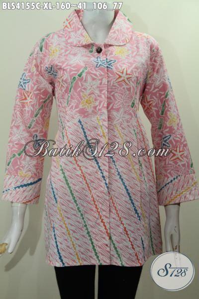 Produk Busana Blus Modern Warna Pastel Halus Dan Modis, Busana Batik Seragam Kerja Model Kerah Bulat Membuat Wanita Terlihat Cantik Dan Feminim, Size XL