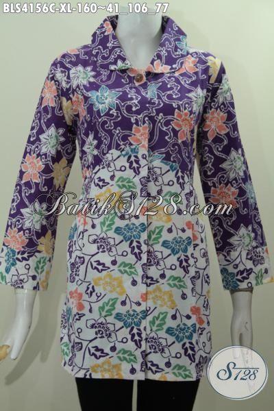 Baju Batik Dual Warna Trend Mode Masa Kini, Pakaian Batik Elegan Dengan Kerah Bulat Modis Untuk Kerja Dan Jalan-Jalan, Size XL