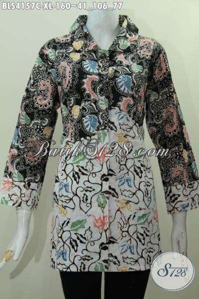 Sedia Busana Blus Batik Elegan Model Kerah Bulat, Baju Batik Modis Perempuan Masa Kini Ukuran XL, Tampil Modis Dan Stylish
