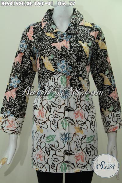 Busana Batik Berkelas Buat Perempuan Dewasa, Baju Batik Blus Modern Dua Warna Modek Kerah Bulat Motif Trendy Proses Cap Produk Terbaru Dari Solo [BLS4158C-XL]